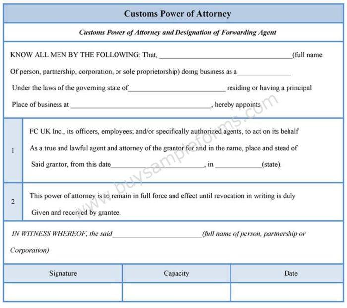Customs Broker Power Of Attorney Template