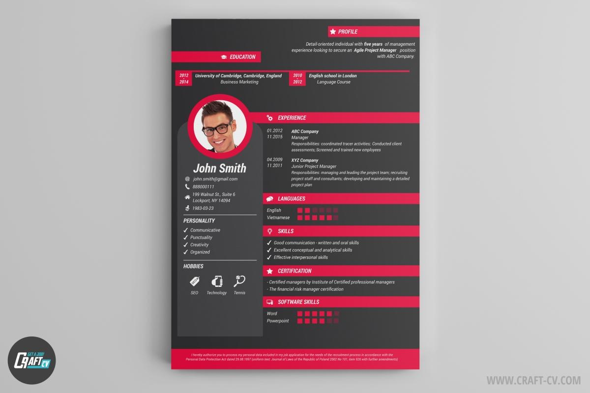Cv Format Template Psd Free Download