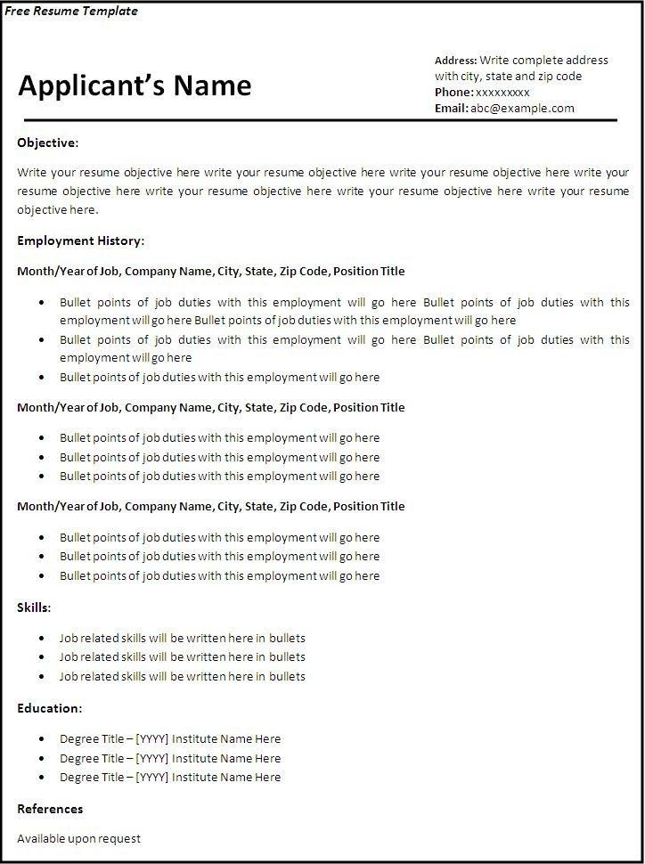 Cv Template Free Download Word 2007