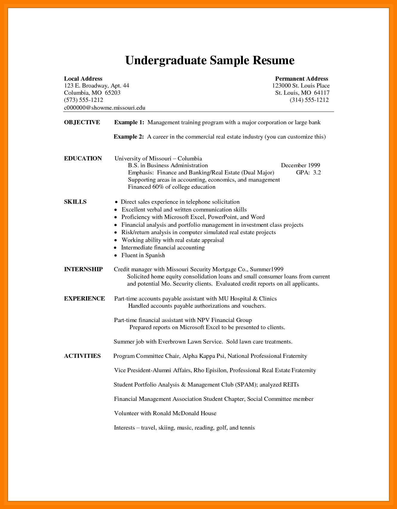 Cv Template Undergraduate Student