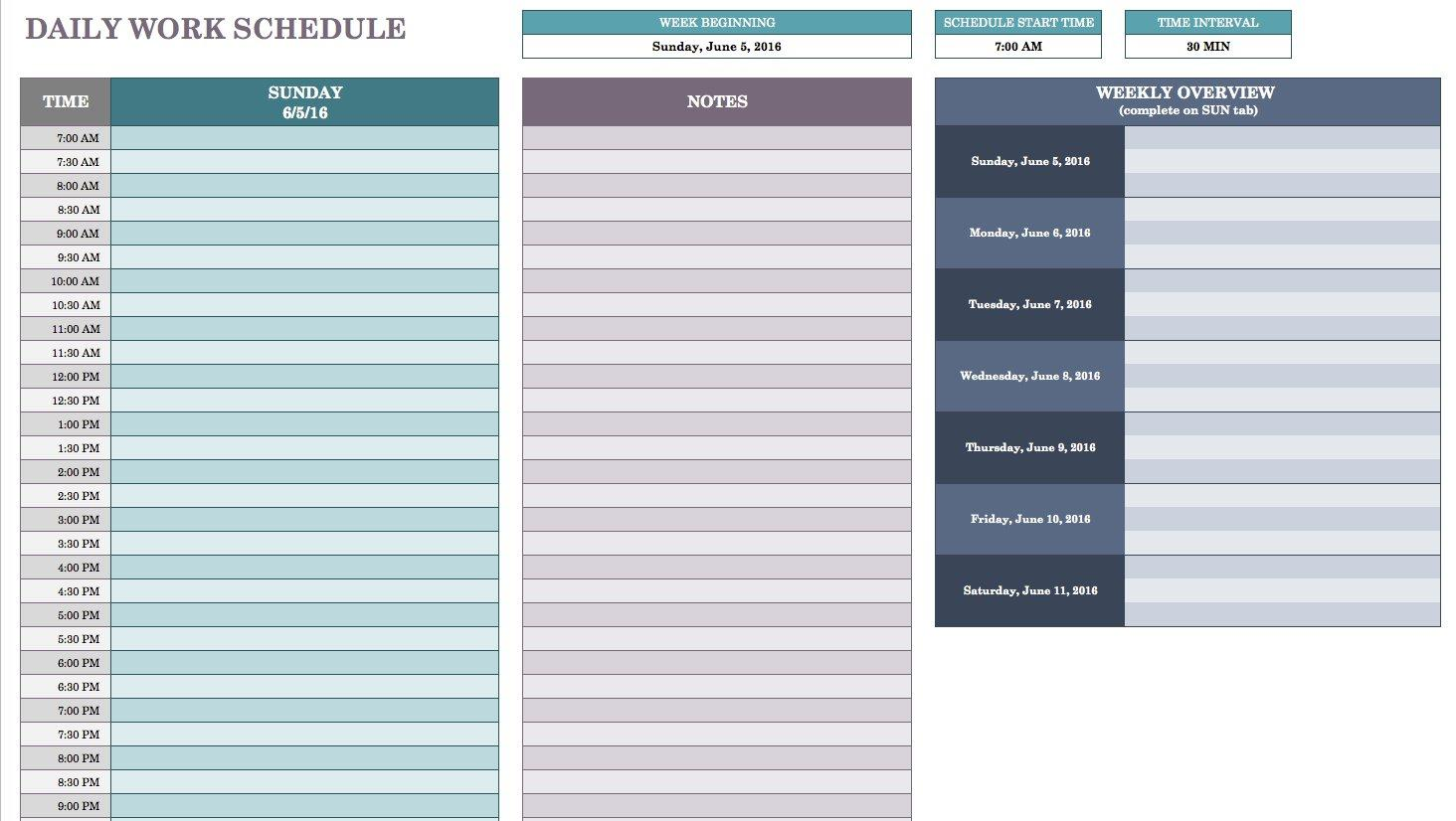 Daily Work Planner Template Excel