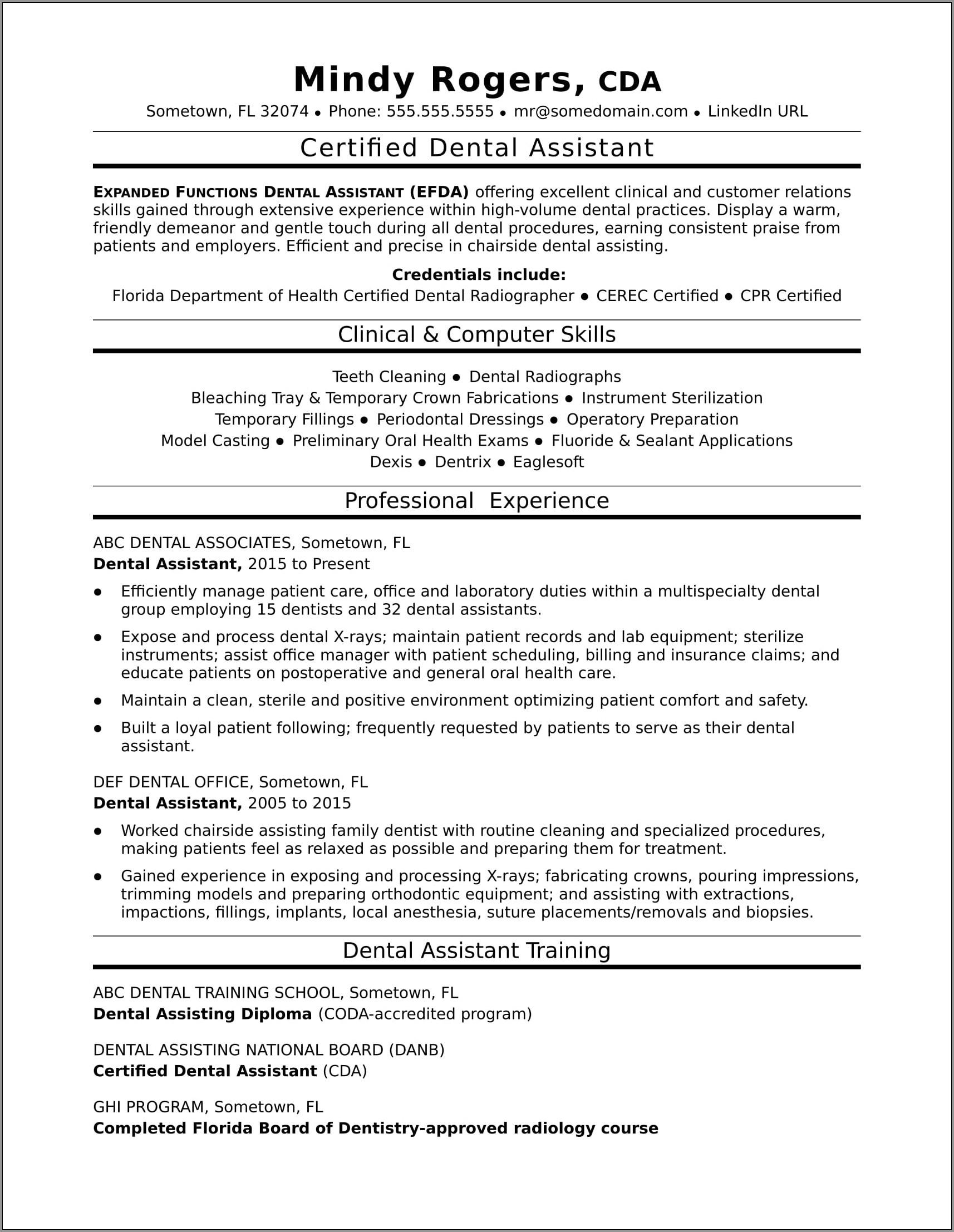 Dental Assistant Resume Template Examples