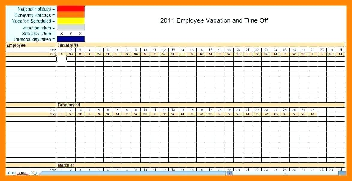 Department Vacation Schedule Template