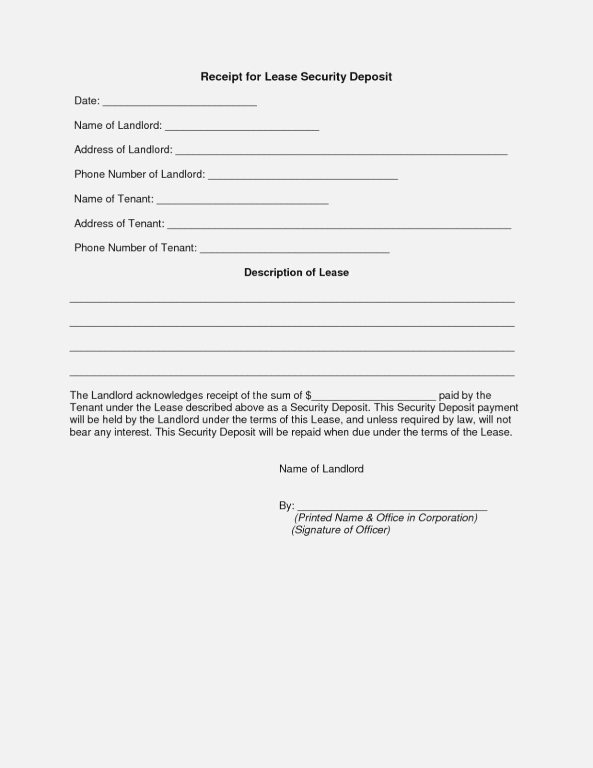 Deposit Invoice Format