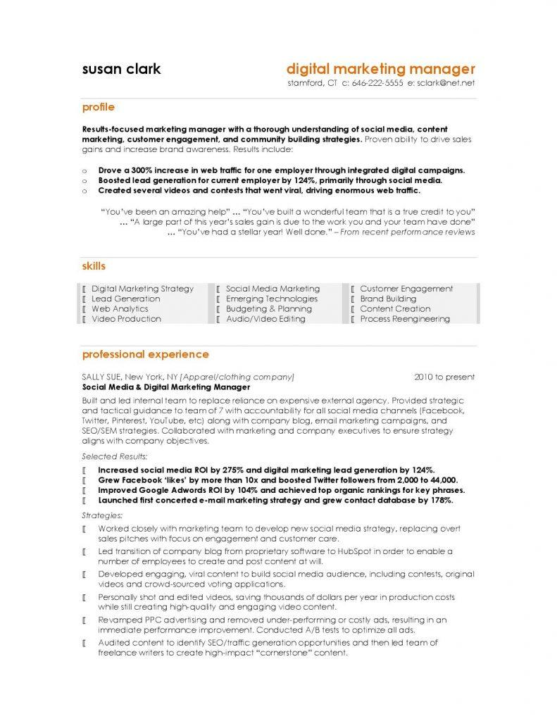 Digital Marketing Manager Resume Template