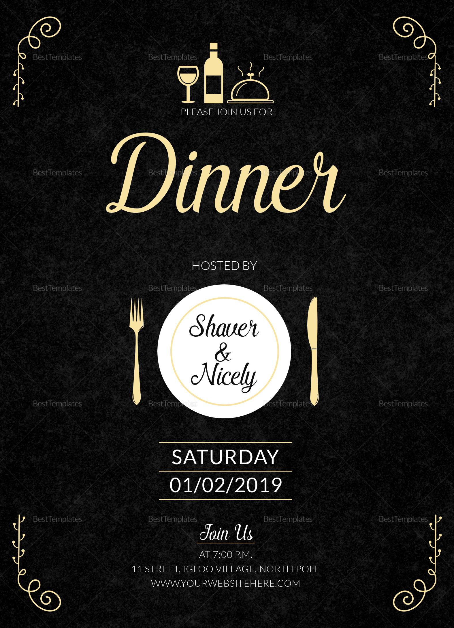 Dinner Invitation Template Publisher
