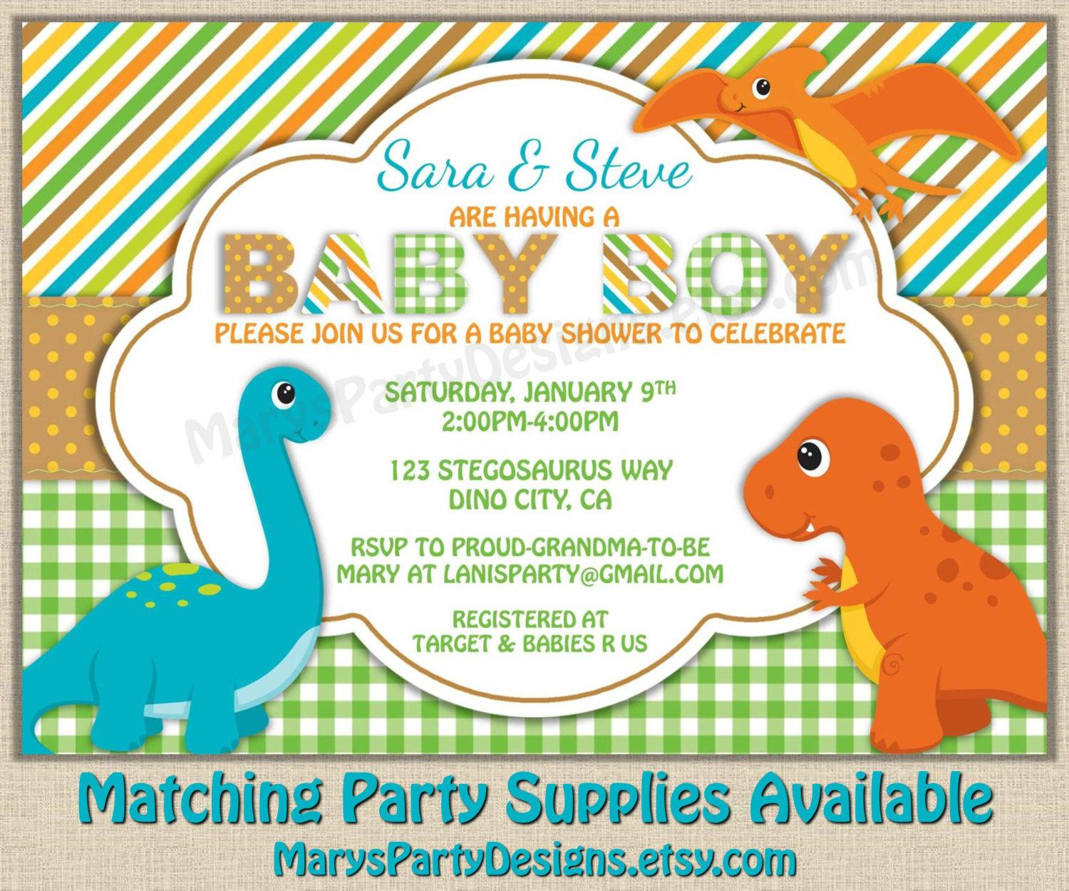 Dinosaur Baby Shower Invitation Template