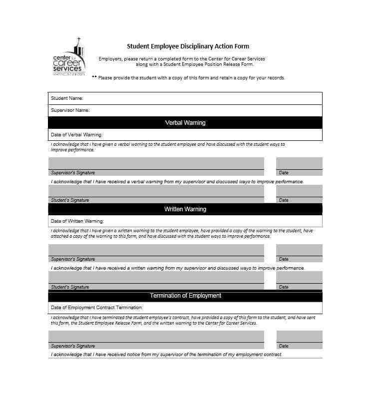 Disciplinary Action Form Template Word