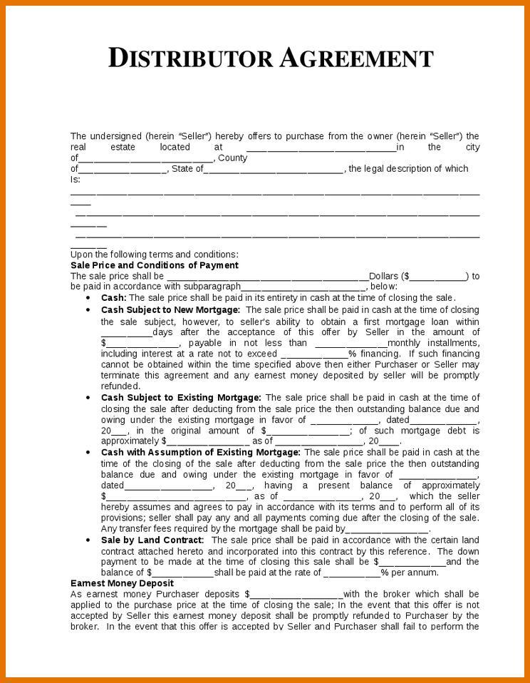 Distribution Agreement Template Pdf