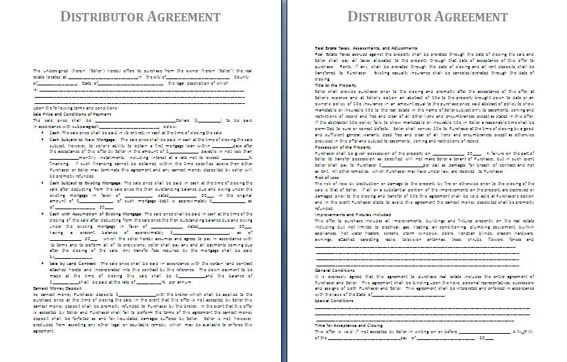 Distributor Contract Template
