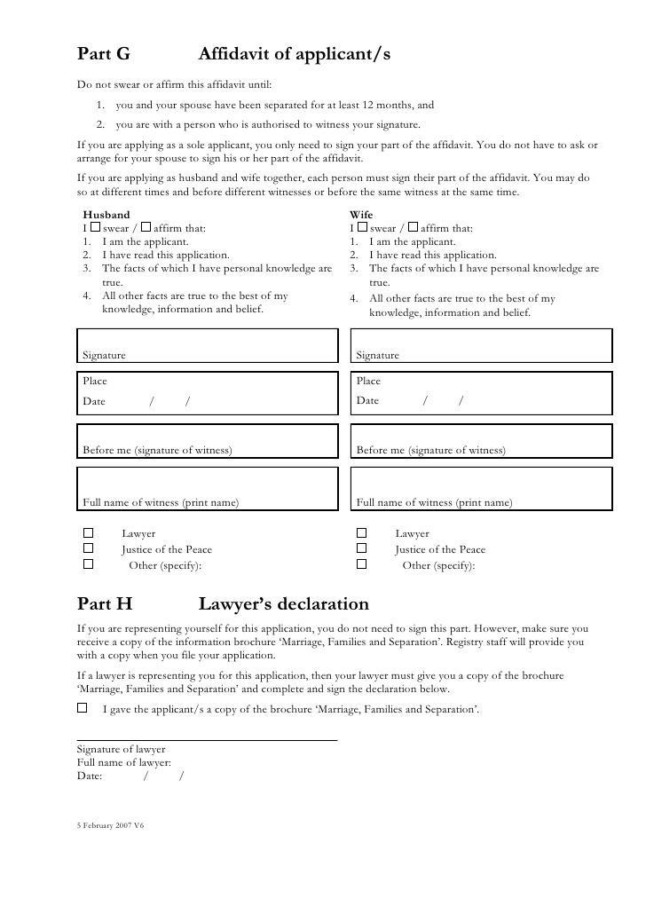 Divorce Affidavit Example Australia