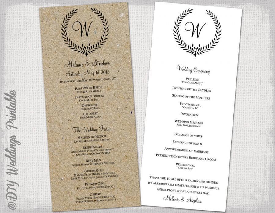 Diy Rustic Wedding Program Template