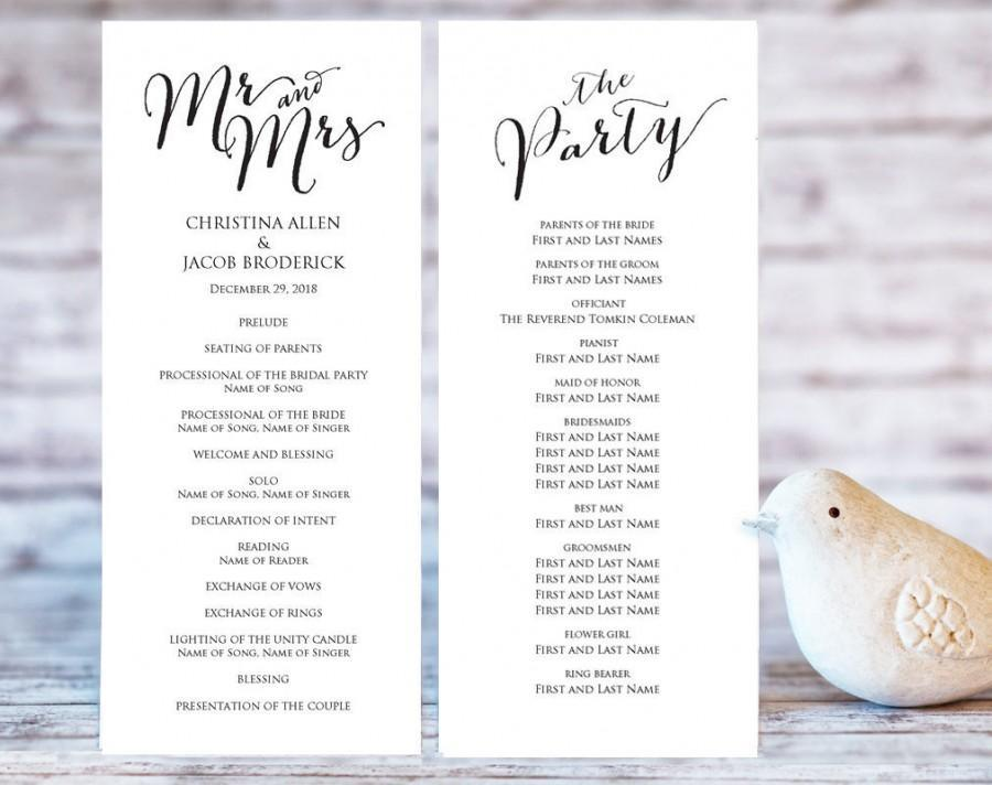 Diy Wedding Ceremony Program Templates