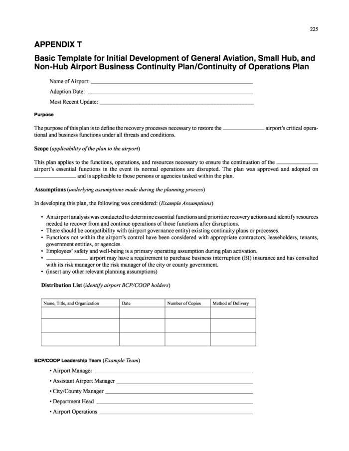 Dod Continuity Of Operations Plan Template
