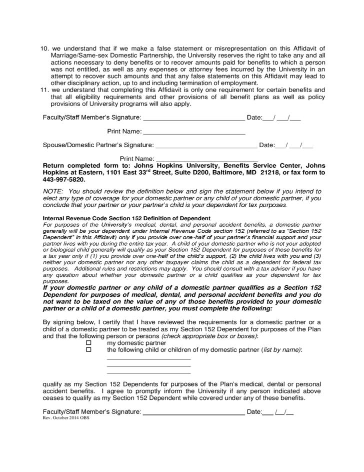 Domestic Partner Affidavit Template