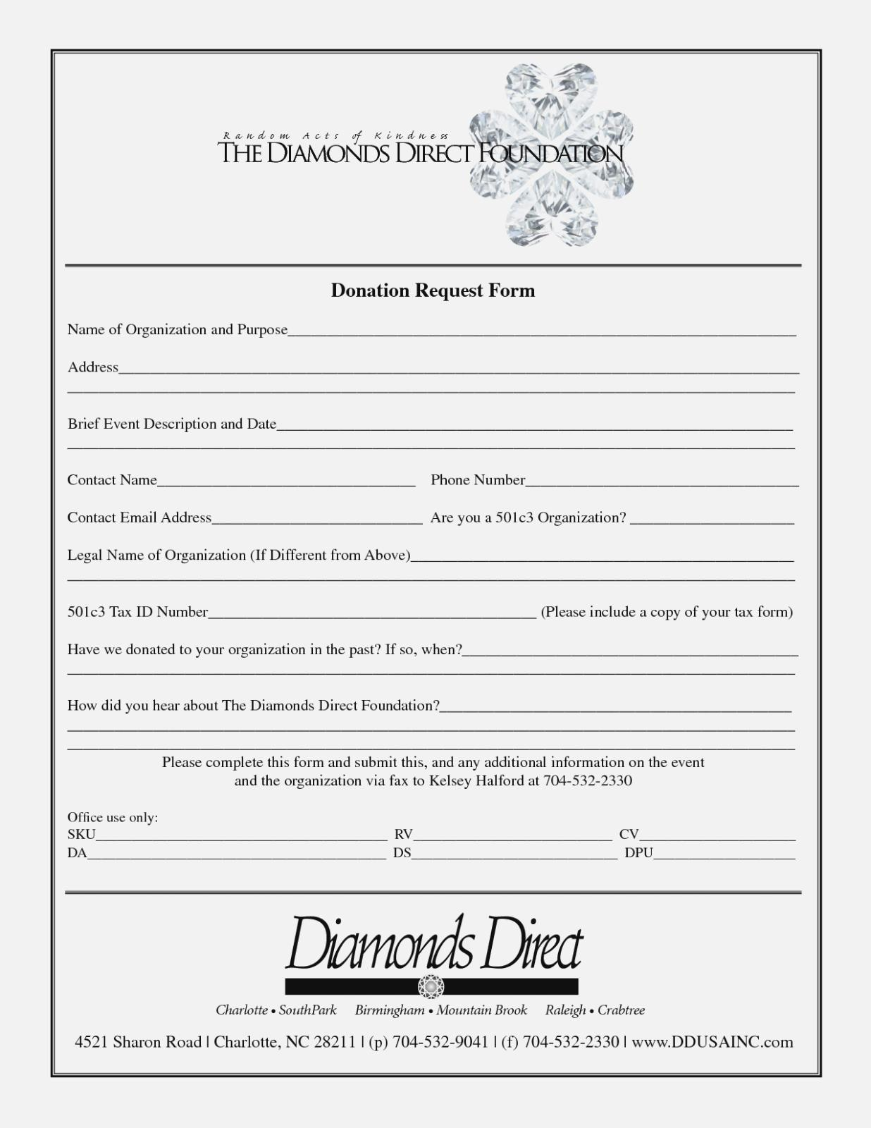 Donation Form Template Excel