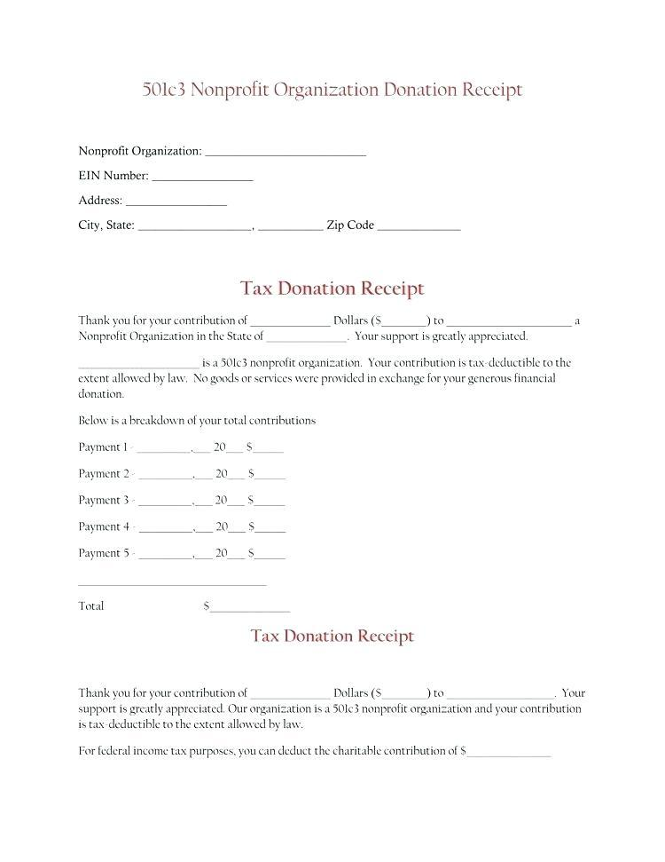 Donation Receipt Template For 501c3
