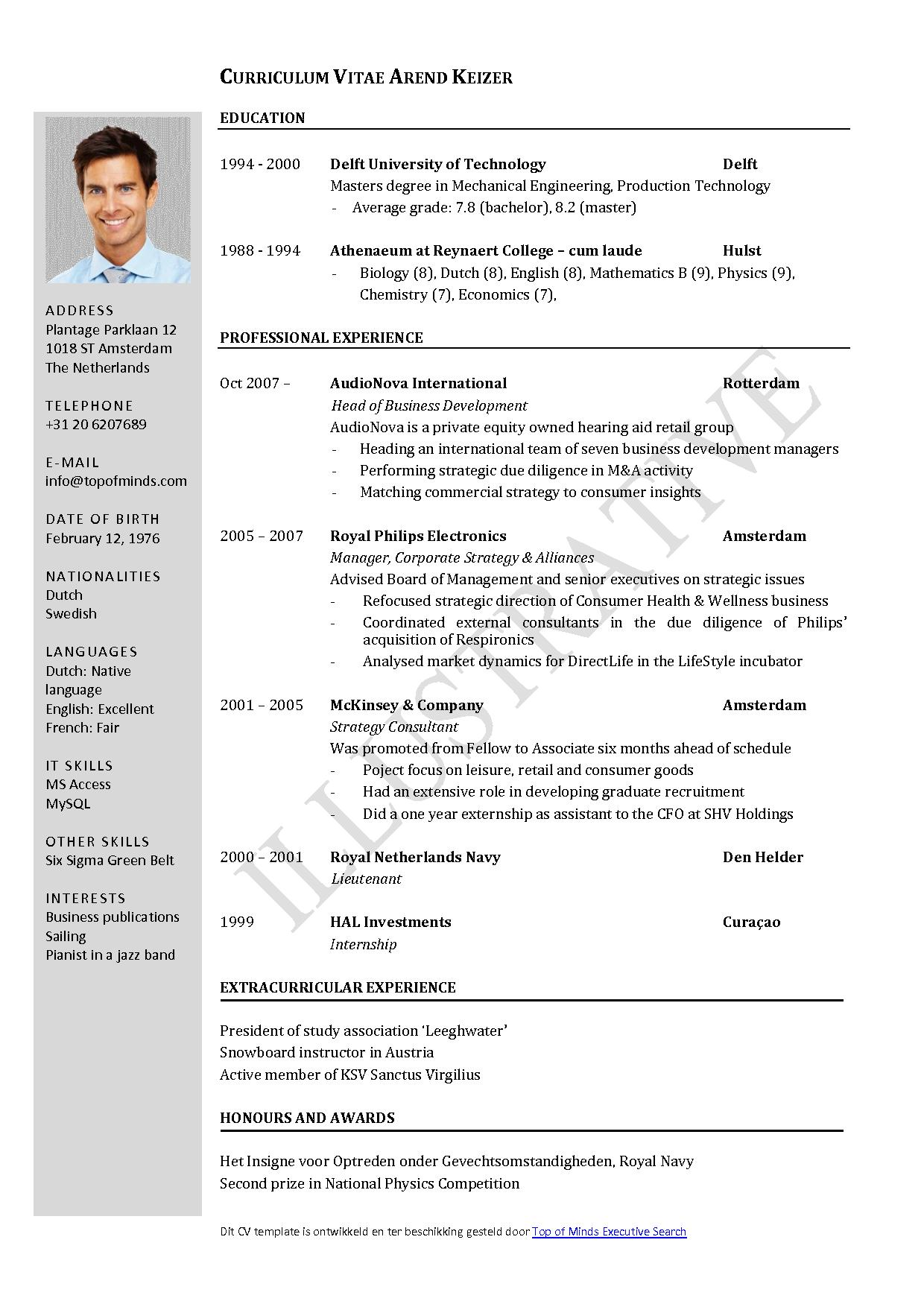 Download Template For Curriculum Vitae