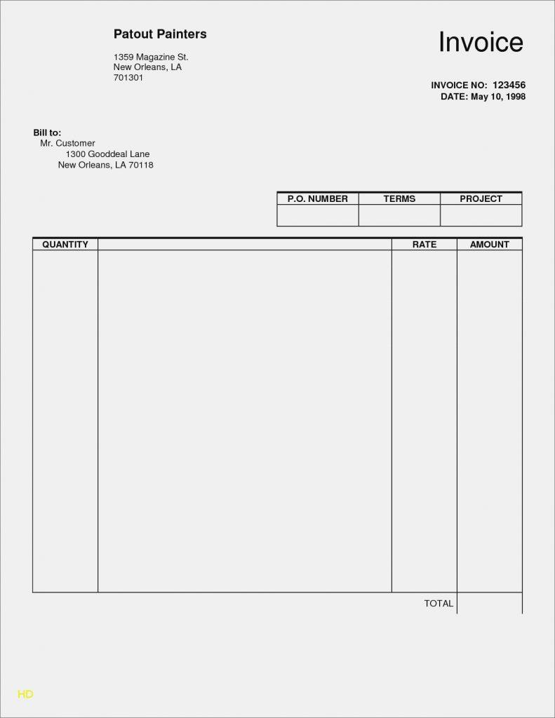 Downloadable Fillable Invoice Template