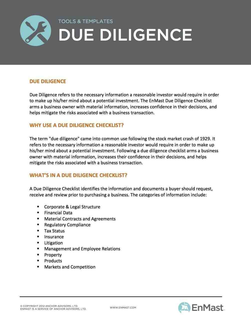 Due Diligence Report Format Pdf