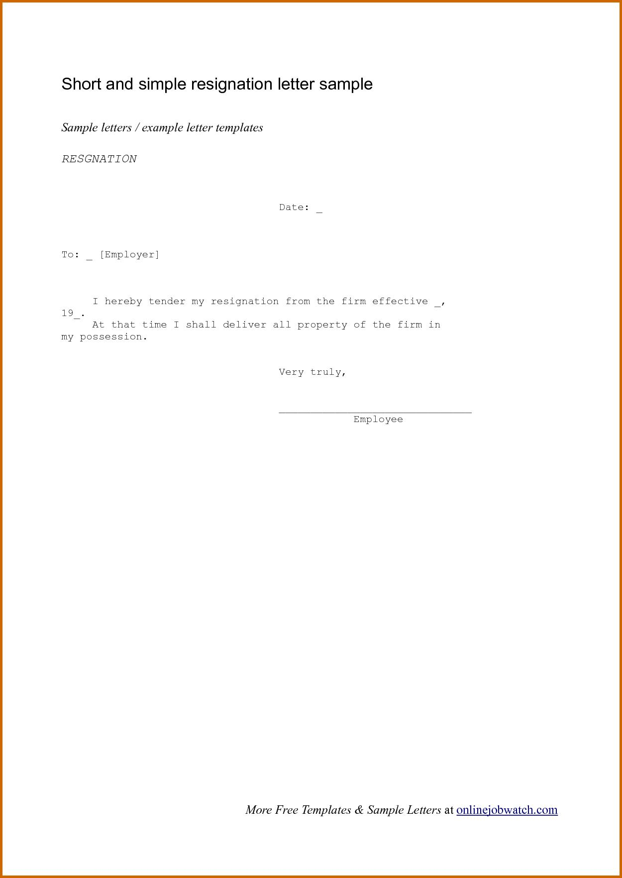 Easy Resignation Letter Template