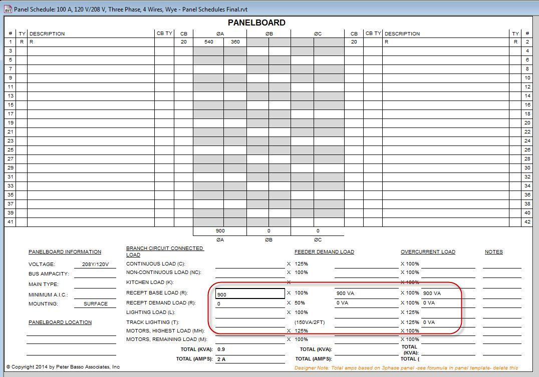 Eaton Electrical Panel Schedule Template