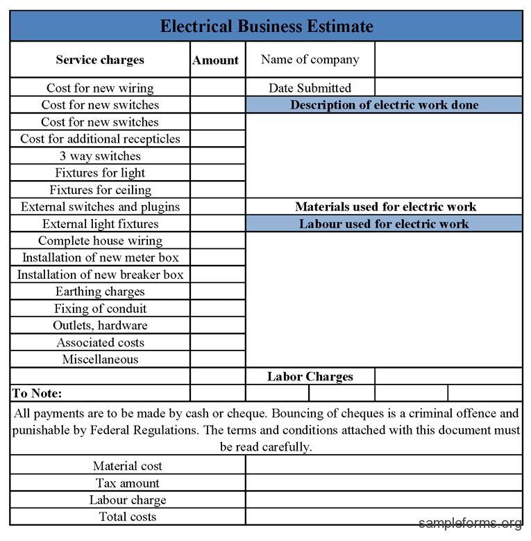 Electrical Job Proposal Template