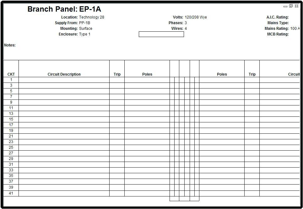 Electrical Panel Schedule Template Download Revit