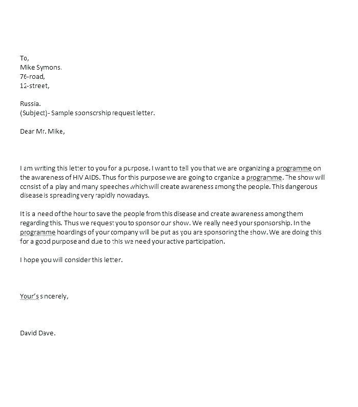 Email Template For Sponsorship Request