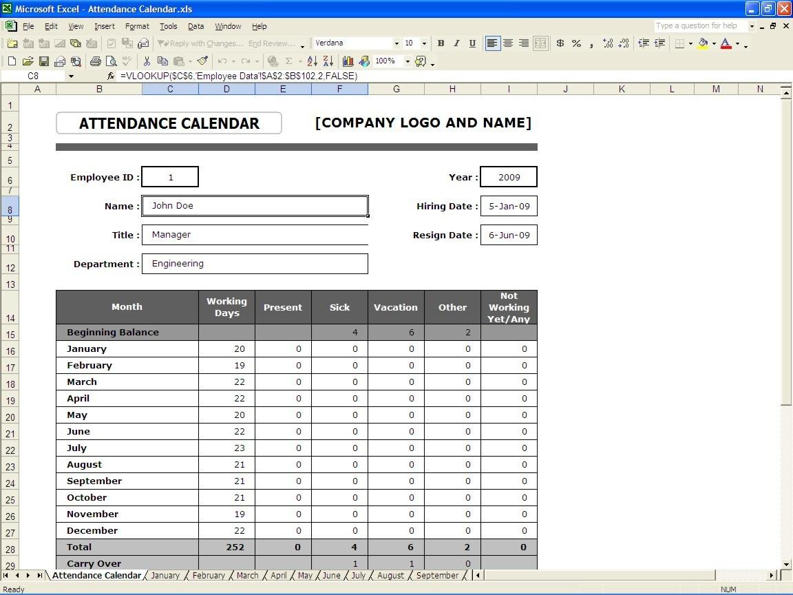 Employee Annual Attendance Record Template