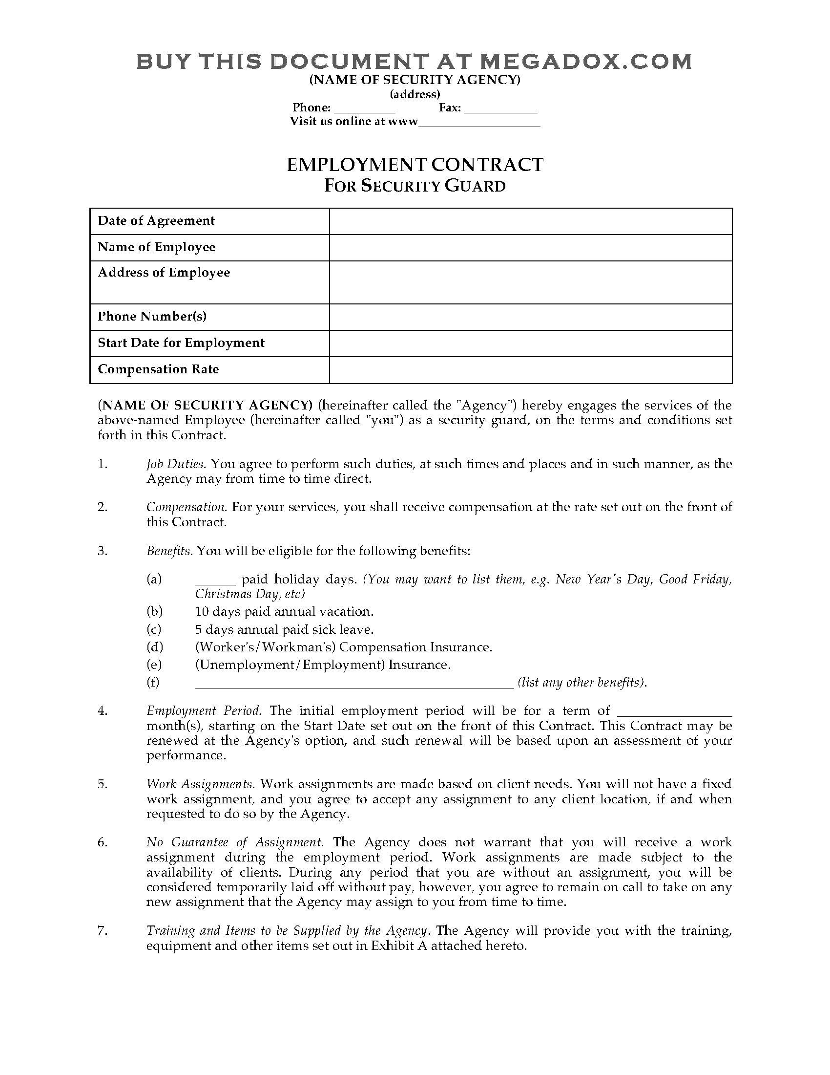 Employee Contract Template Alberta