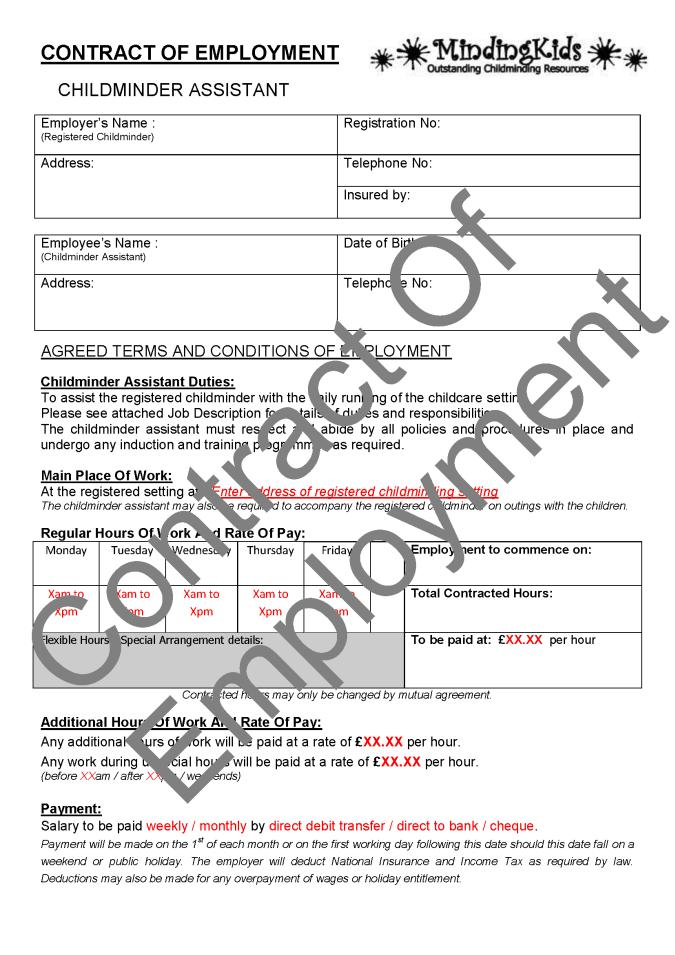 Employee Contract Template Scotland