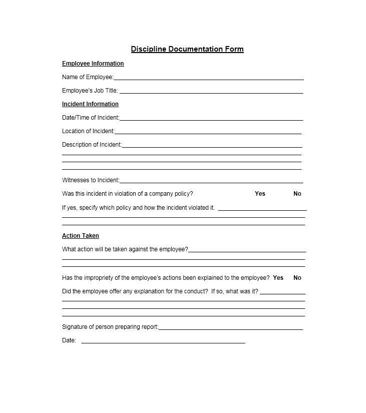 Employee Disciplinary Form Template