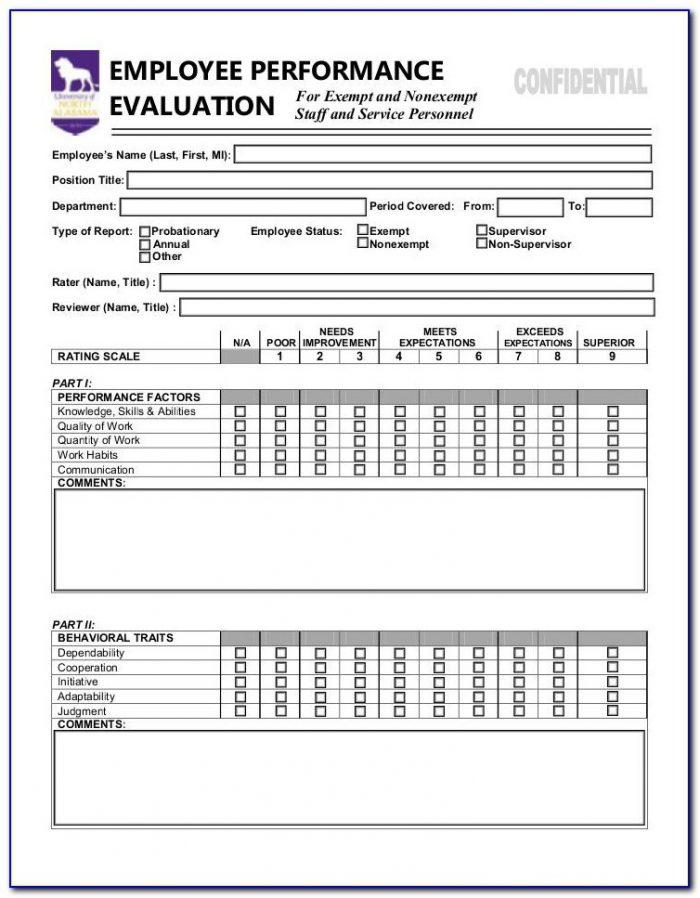 Employee Evaluation Form For Salary Increase