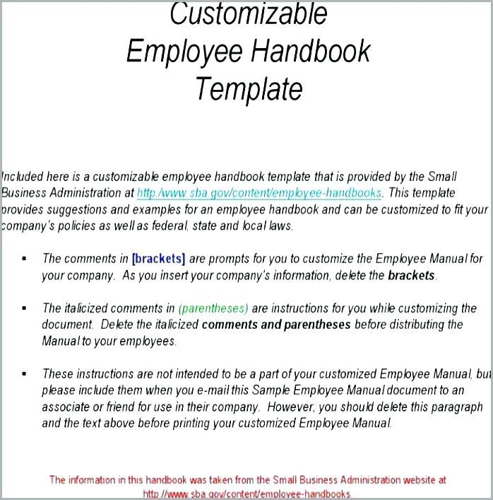 Employee Handbook Sample Restaurant