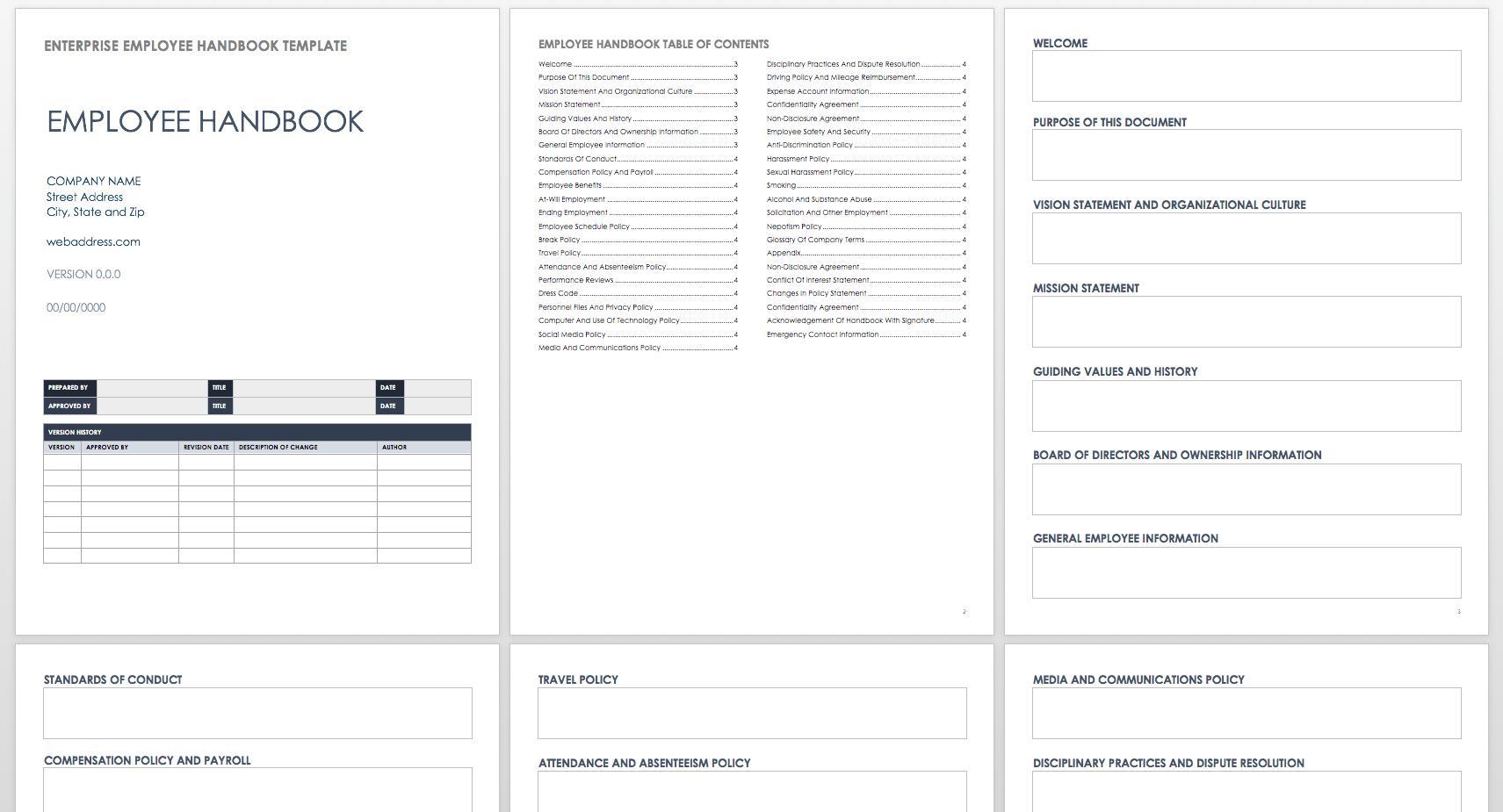 Employee Handbook Sample Word
