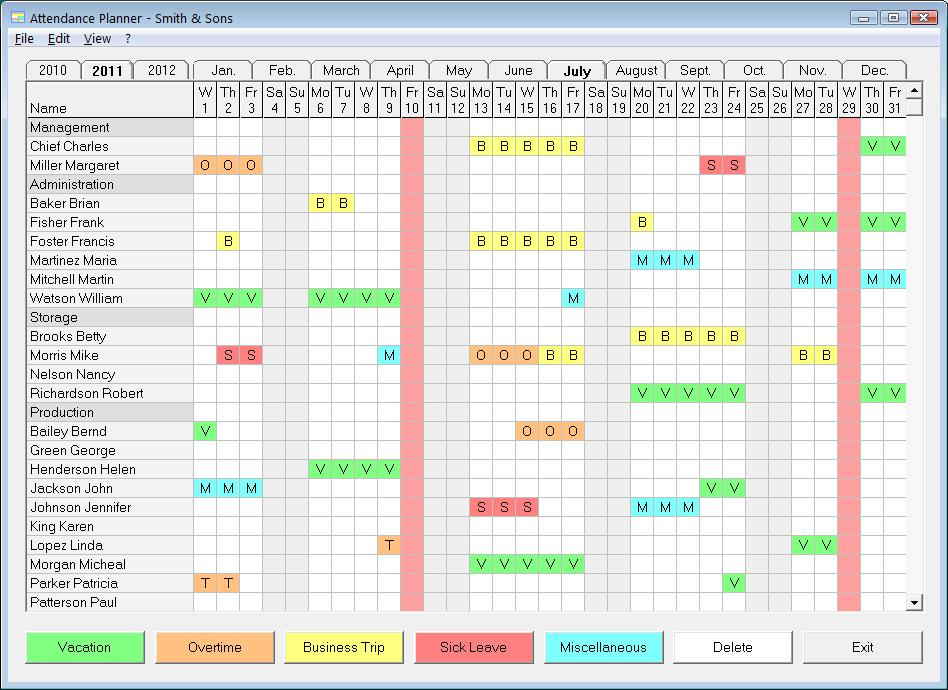 Employee Holiday Planner Template