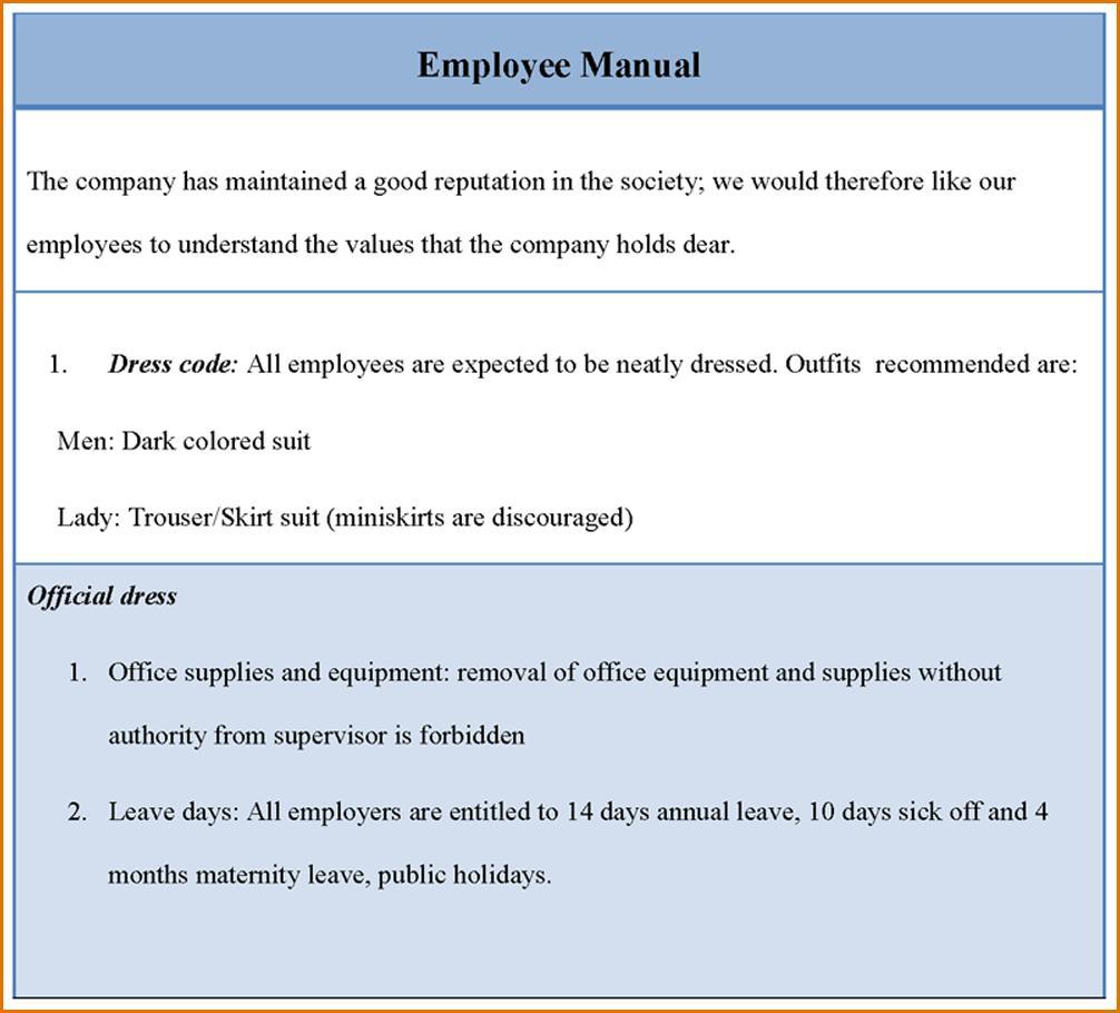 Employee Manual Template Word