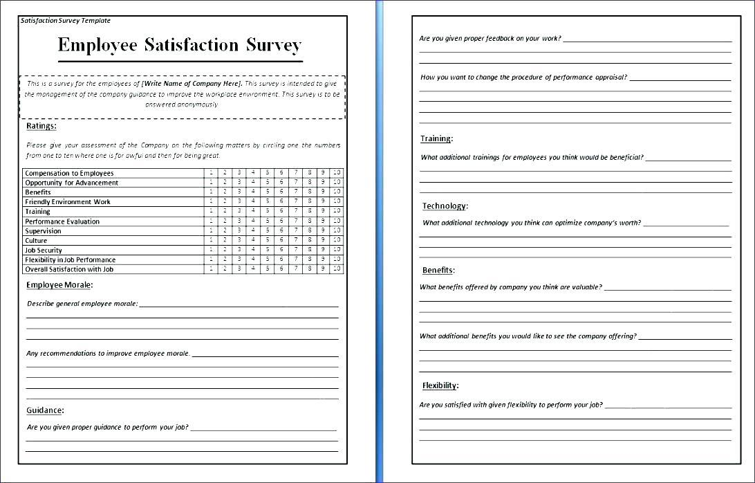 Employee Satisfaction Survey Questionnaire In Hospitals