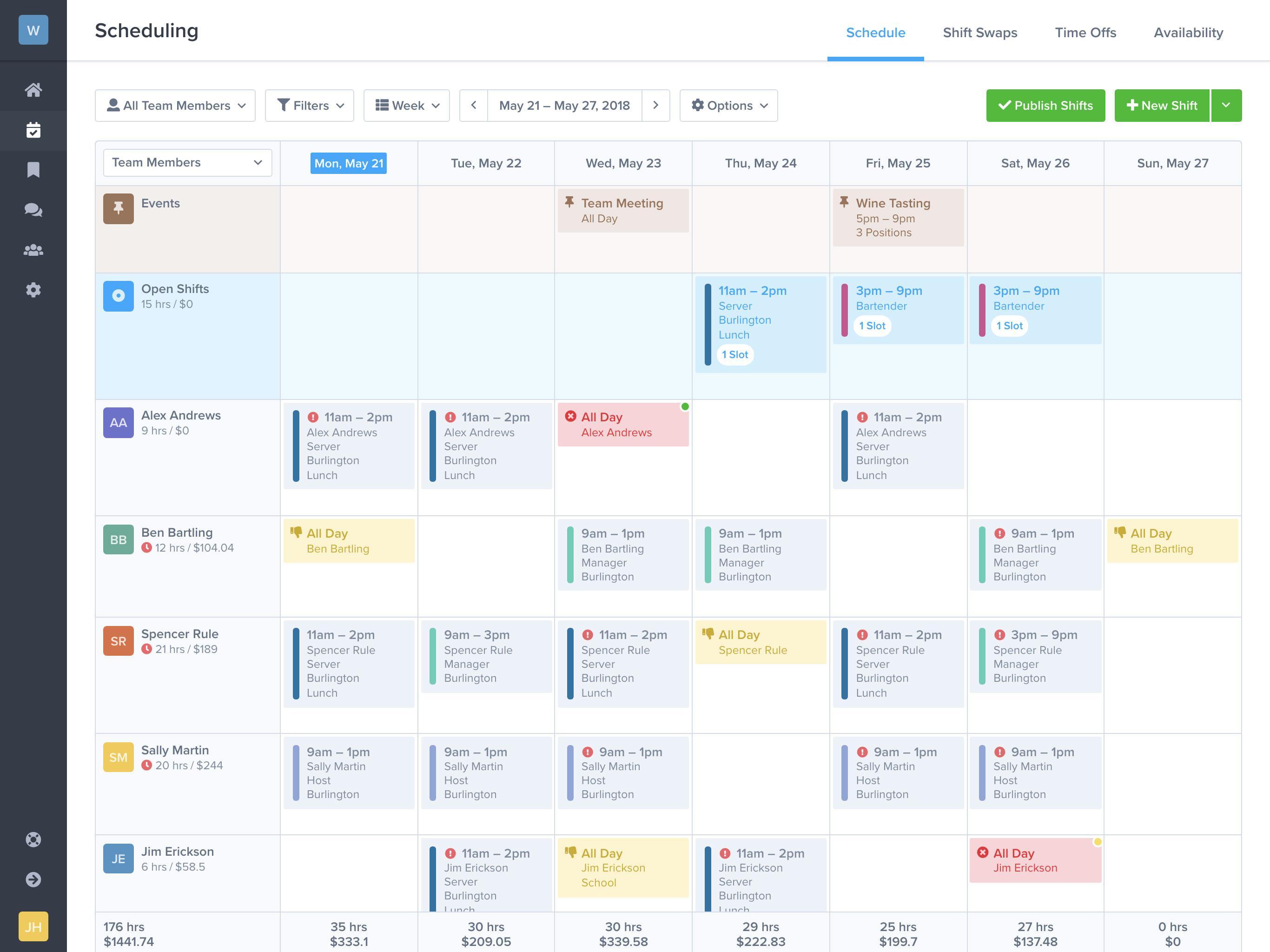 Employee Schedule Template App
