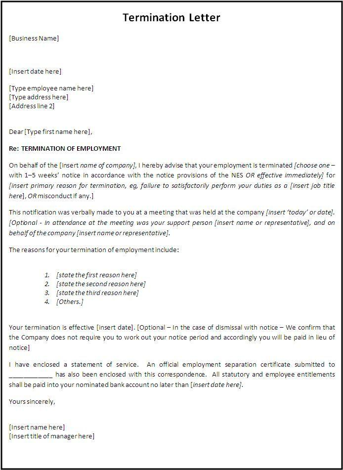 Employee Termination Template Form