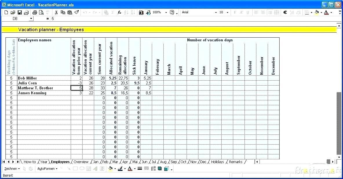 Employee Vacation Plan Template Excel