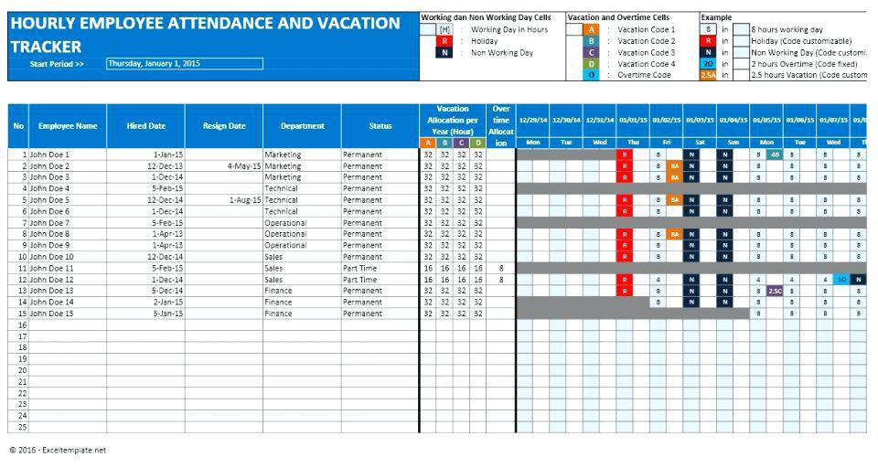 Employee Vacation Planner Template Excel 2016