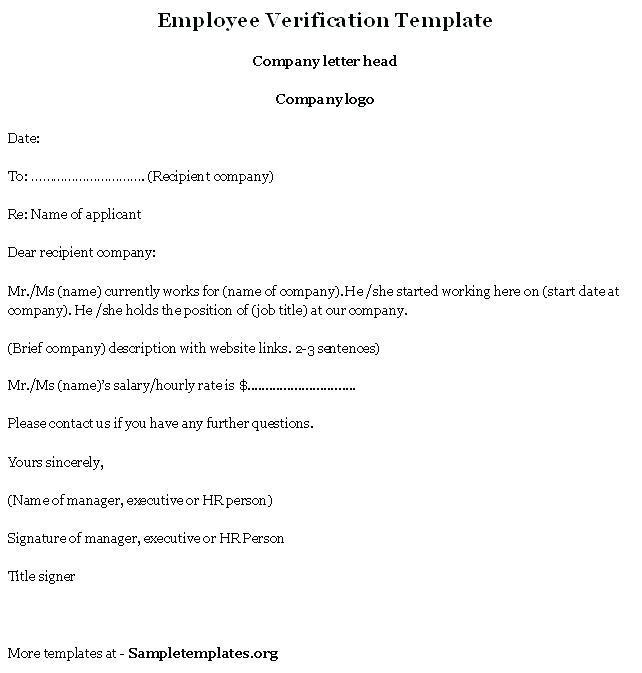 Employee Verification Template Letter