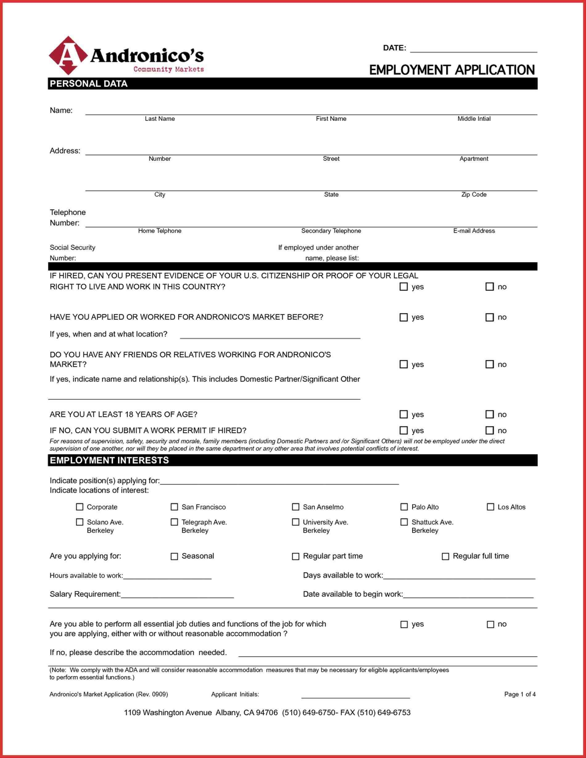 Employment Application Forms California