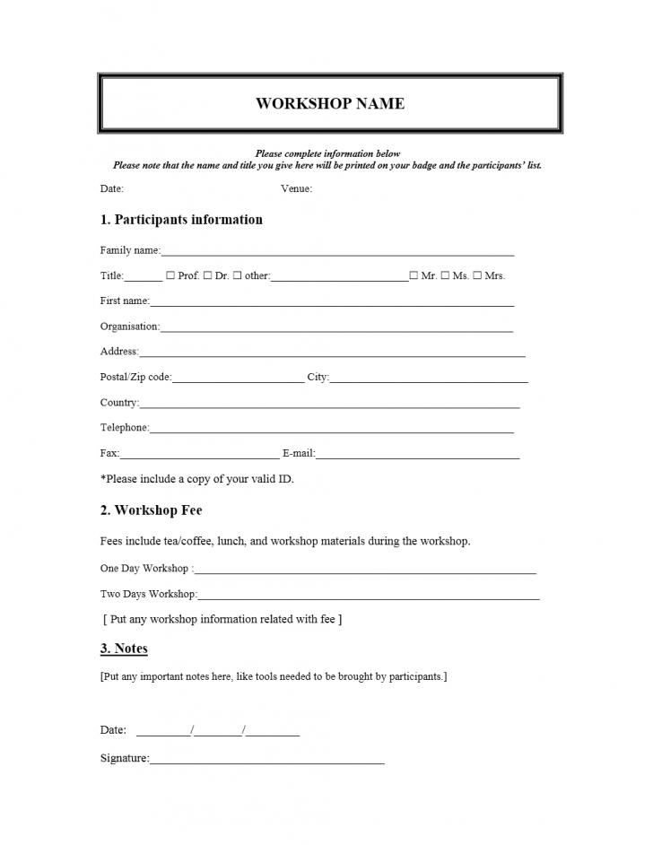 Enrollment Form Template Word