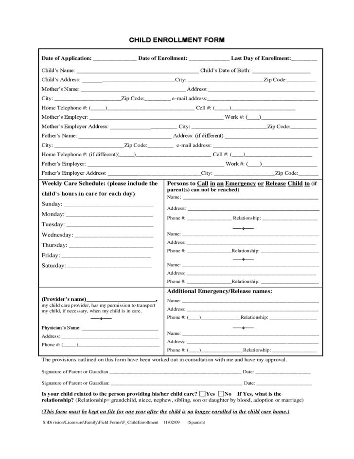 Enrolment Form Template For Child Care
