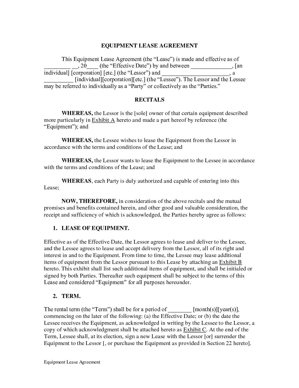 Equipment Lease Agreement Doc