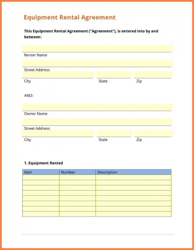 Equipment Rental Agreement Template Doc