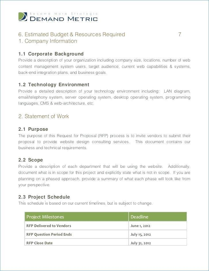 Erp Request For Proposal (rfp) Template - Templates #54853